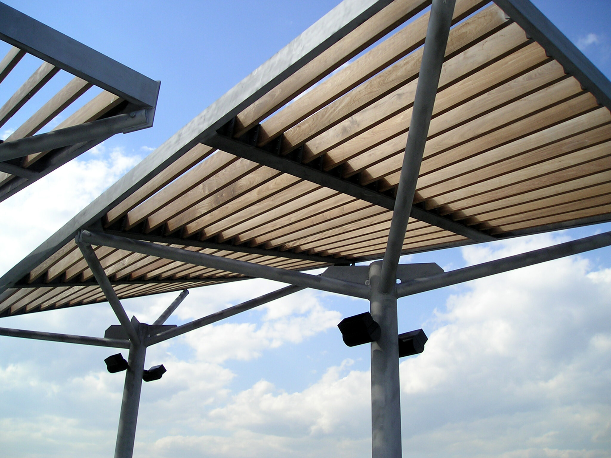 The Clinton Cove shade structures on Pier 95 at Hudson River Park