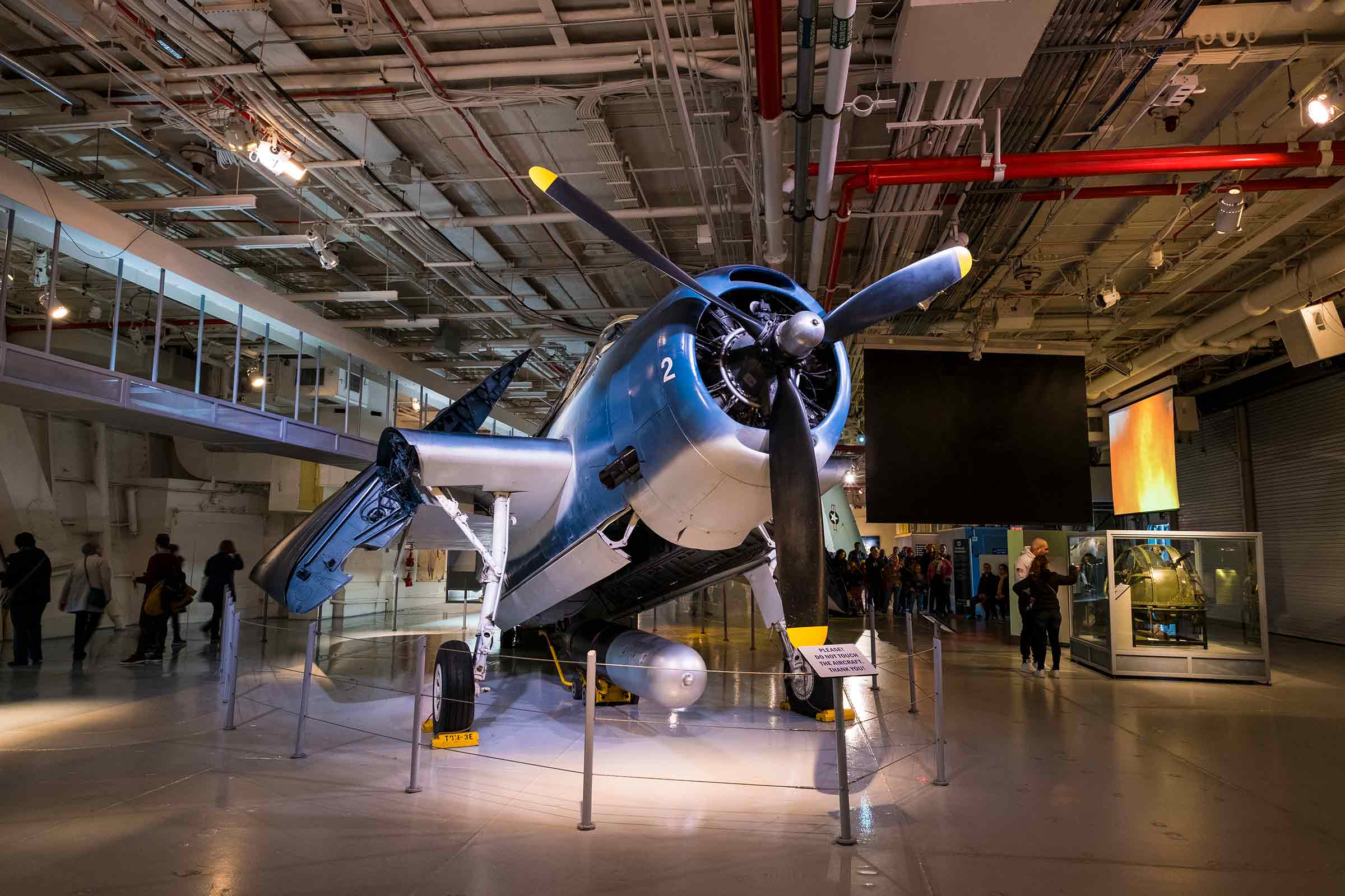 A propeller powered plane is one of the many exhibits at the Intrepid Museum