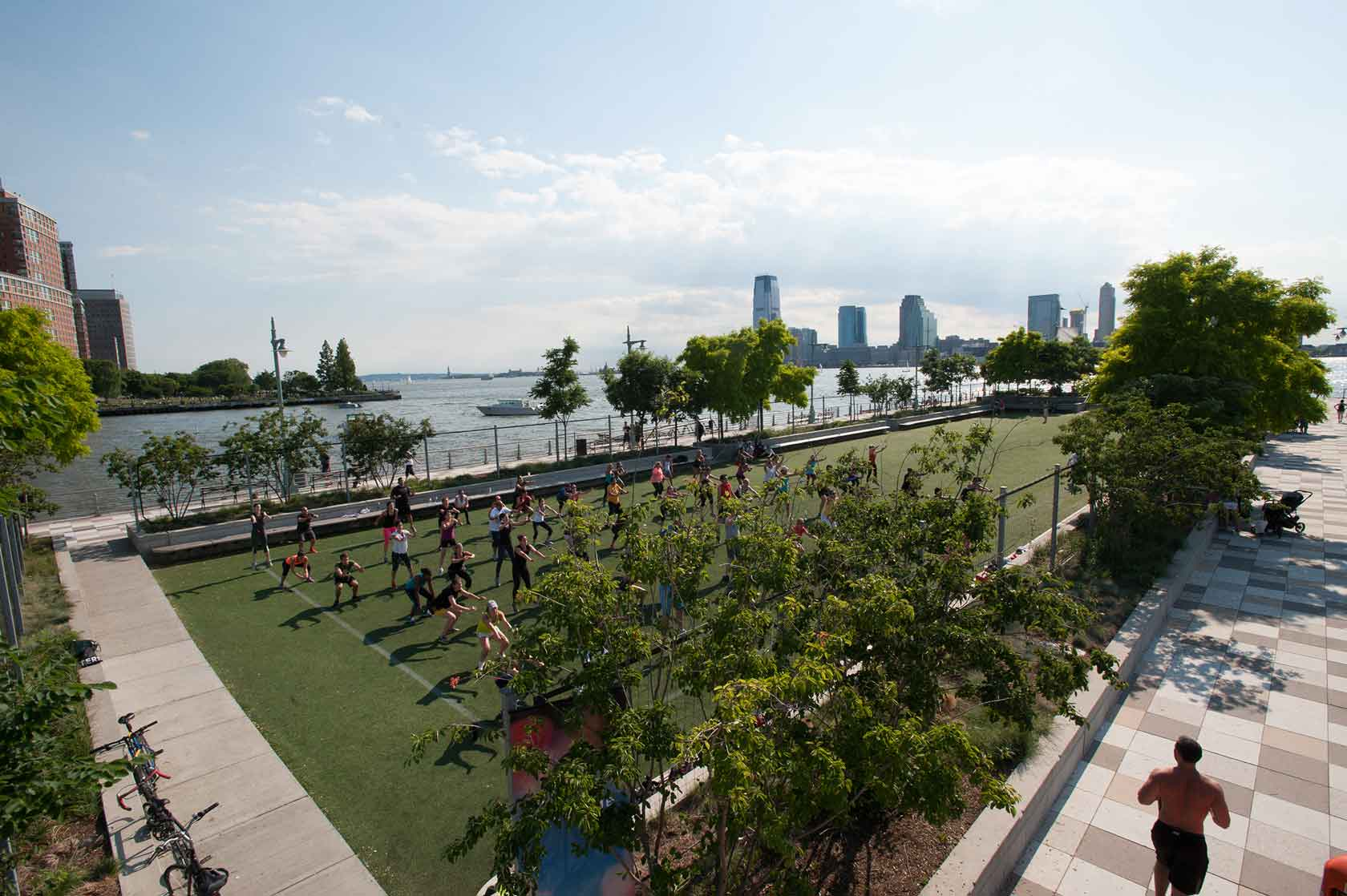 Park visitors get healthy and exercise on the field at Pier 25