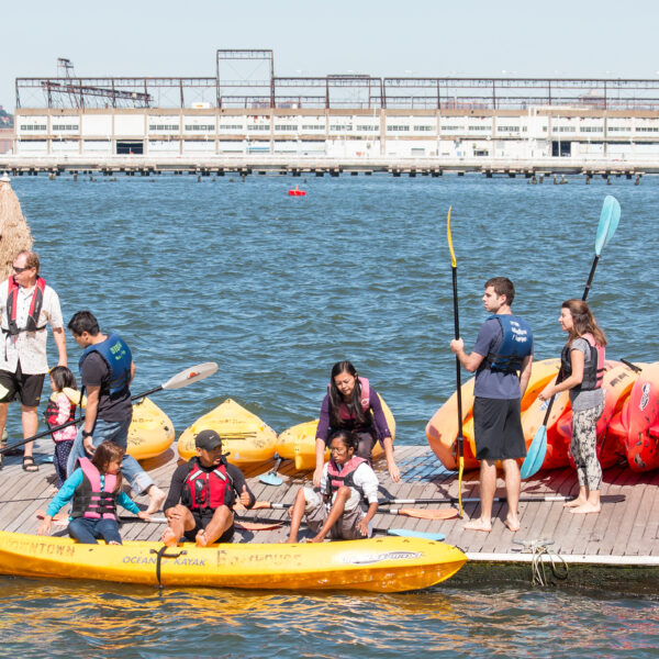 Kayakers prep to head into the Hudson River