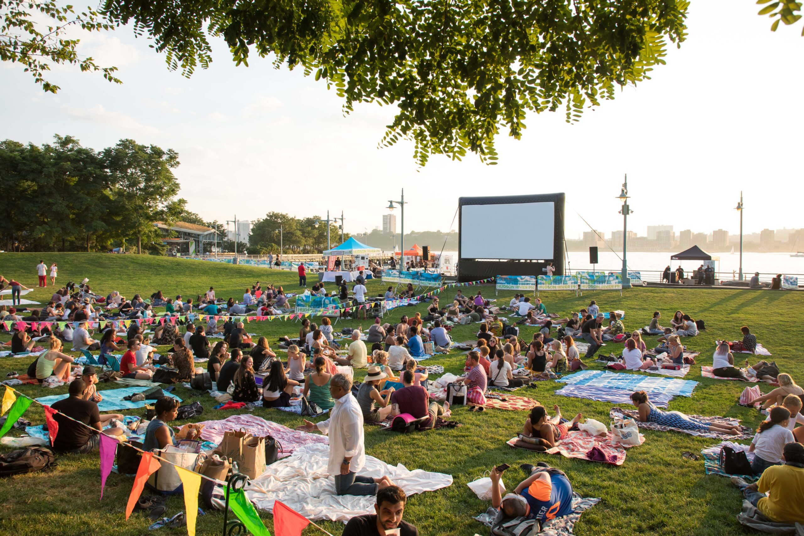 New York audiences spread blankets on Pier 63 in preparation for an evening of Hudson Riverflicks