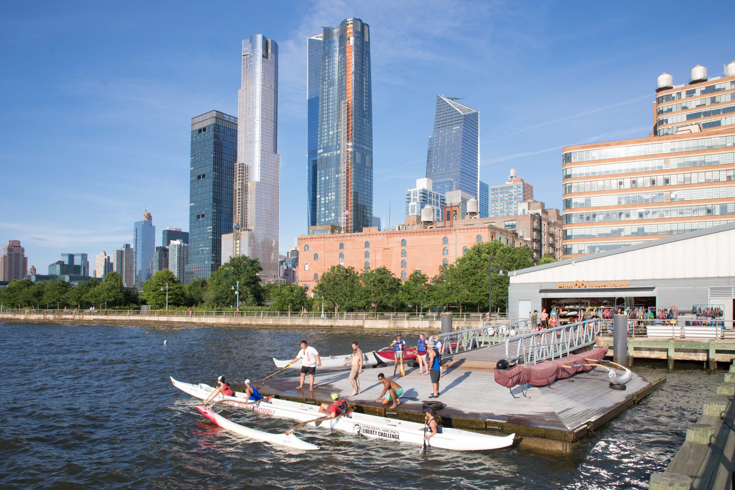 The Pier 66 Boathouse provides a launching pad for numerous kayakers on the Hudson River