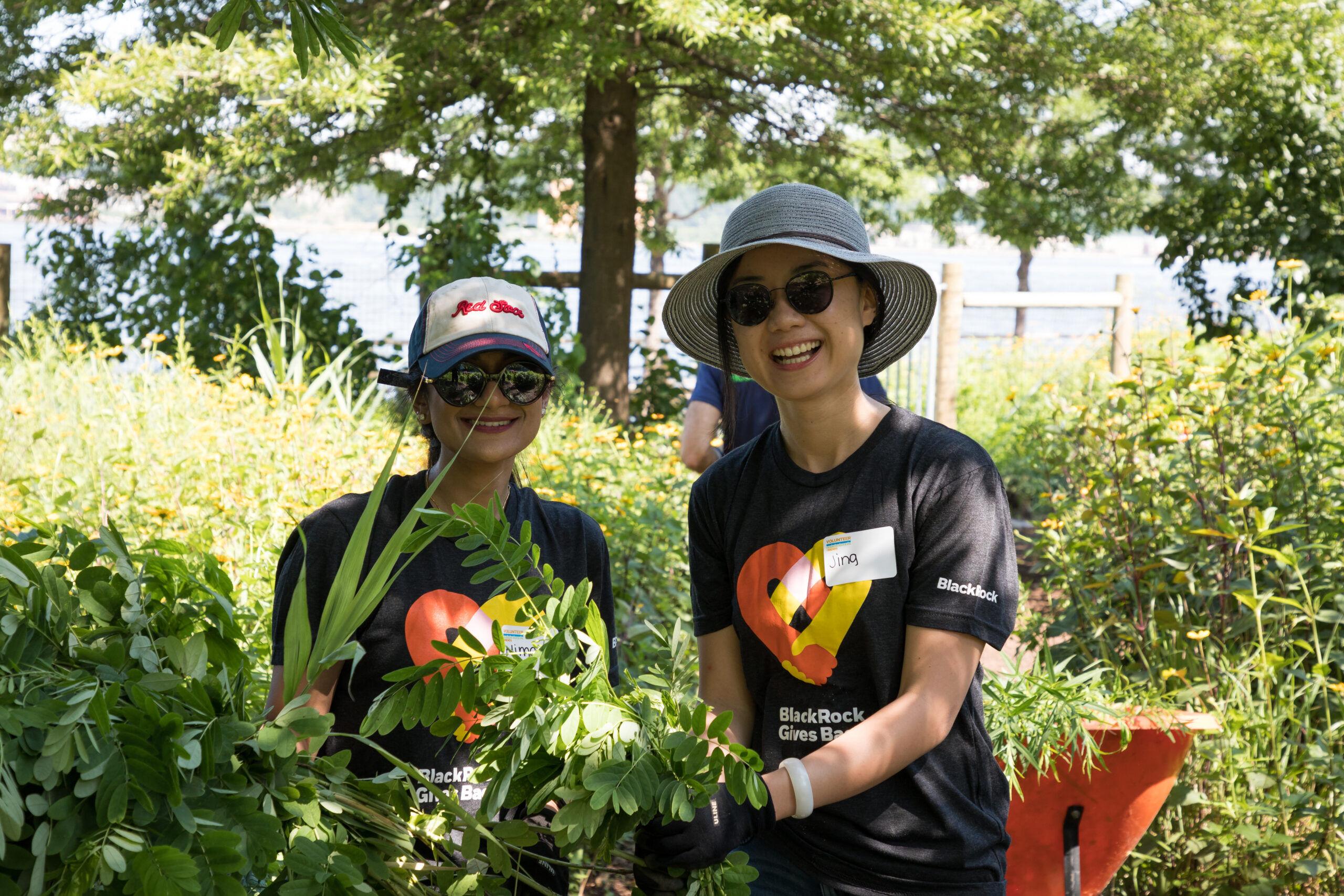 Two volunteer gardeners help at the community garden