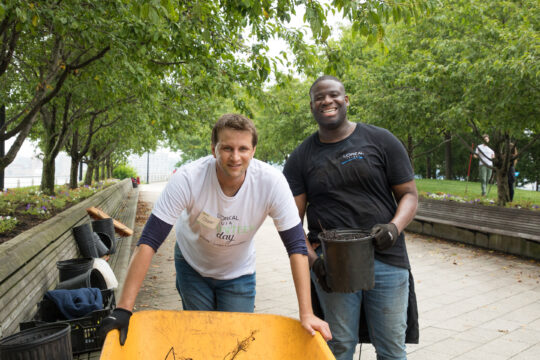 Wheel Barrel and two volunteers