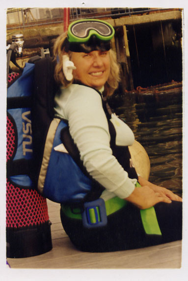 Photo of Cathy Drew, founder of The River Project in snorkling gear