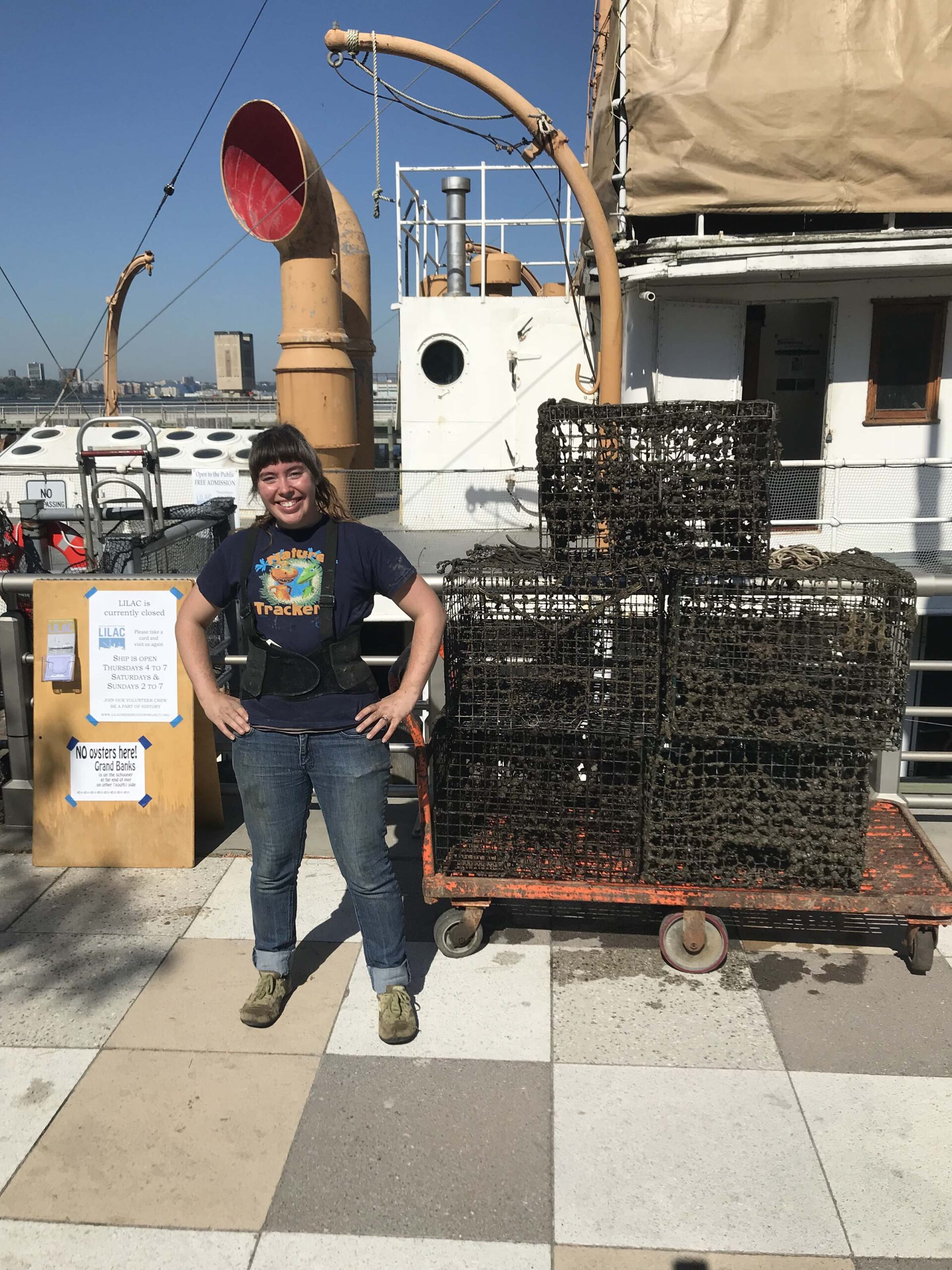 The oyster crates getting ready to be placed in the water