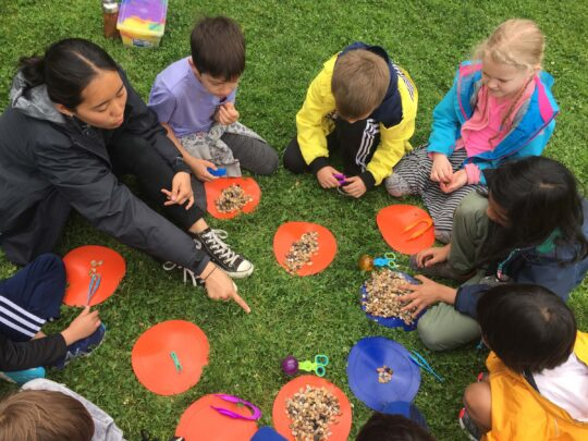 Students learning about rocks that they found in the lawns of Hudson River Park