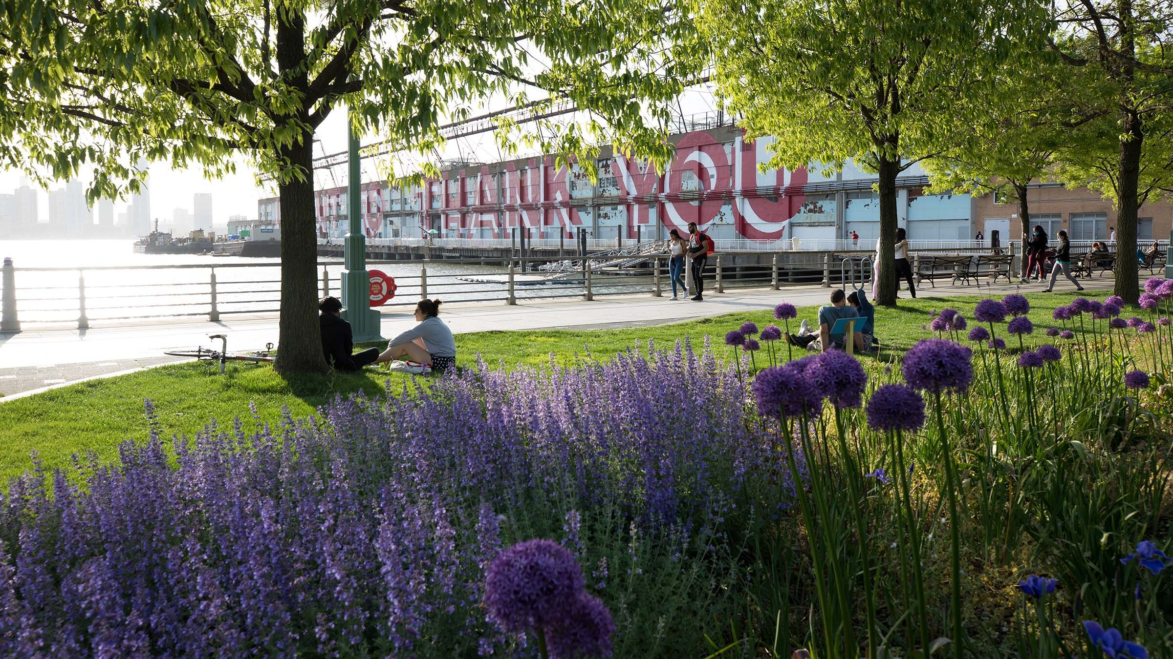 Park visitors enjoy lounging on the lawns in Tribeca in Hudson River Park