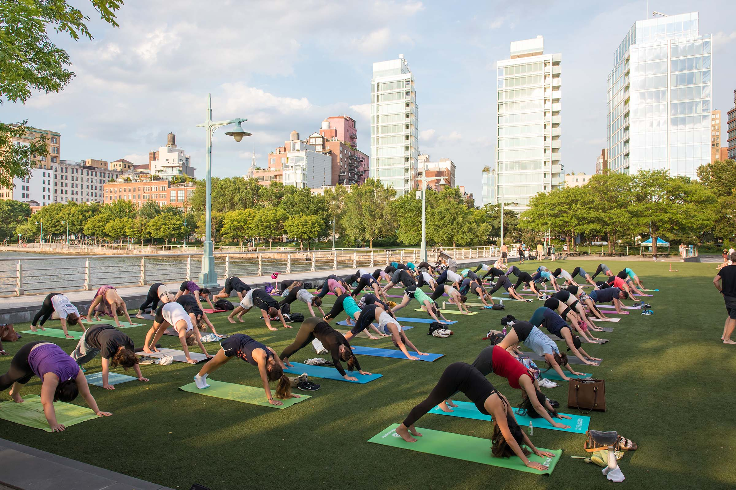 Yoga enthusiasts practice yoga with a downward dog move at Pier 46