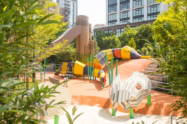 Pipefish slide and oyster climbing area in Chelsea Waterside Play Area