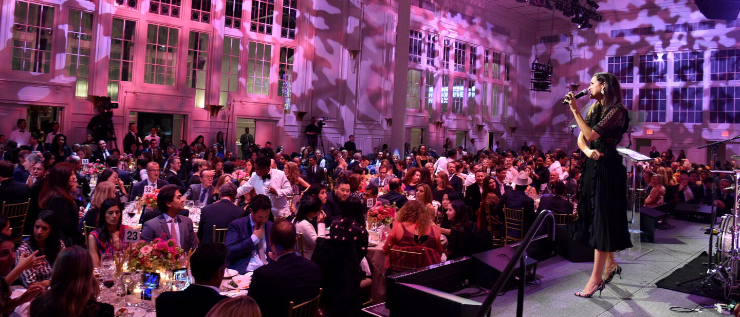 Lydia coaxes potential bidders during the live auction at the Hudson River Park Gala event
