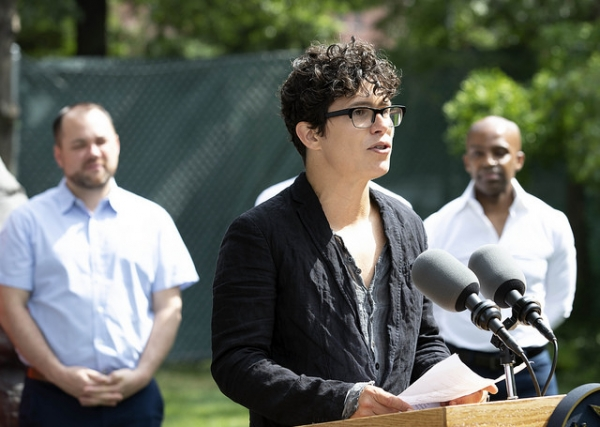 Anthony Goicolea shares a memory during the LGBT Memorial in Hudson River Park