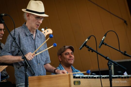 Mike Freeman playing the xylophone during Jazz at Pier 84 in Hudson River Park