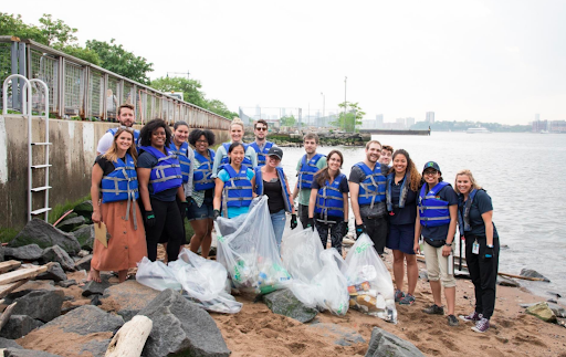A group of volunteers clean up the shoreline in search of plastic