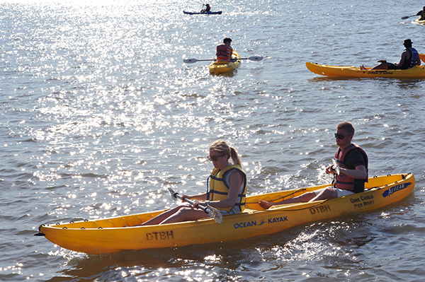 Downtown Boathouse on Pier 26 provides kayaks for those wanting to get in the Hudson River