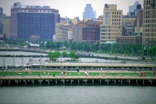 A side view of Pier 45 over the Hudson River