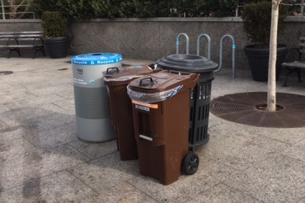 The trifecta of trash, compost and recycling bins throughout Hudson River Park