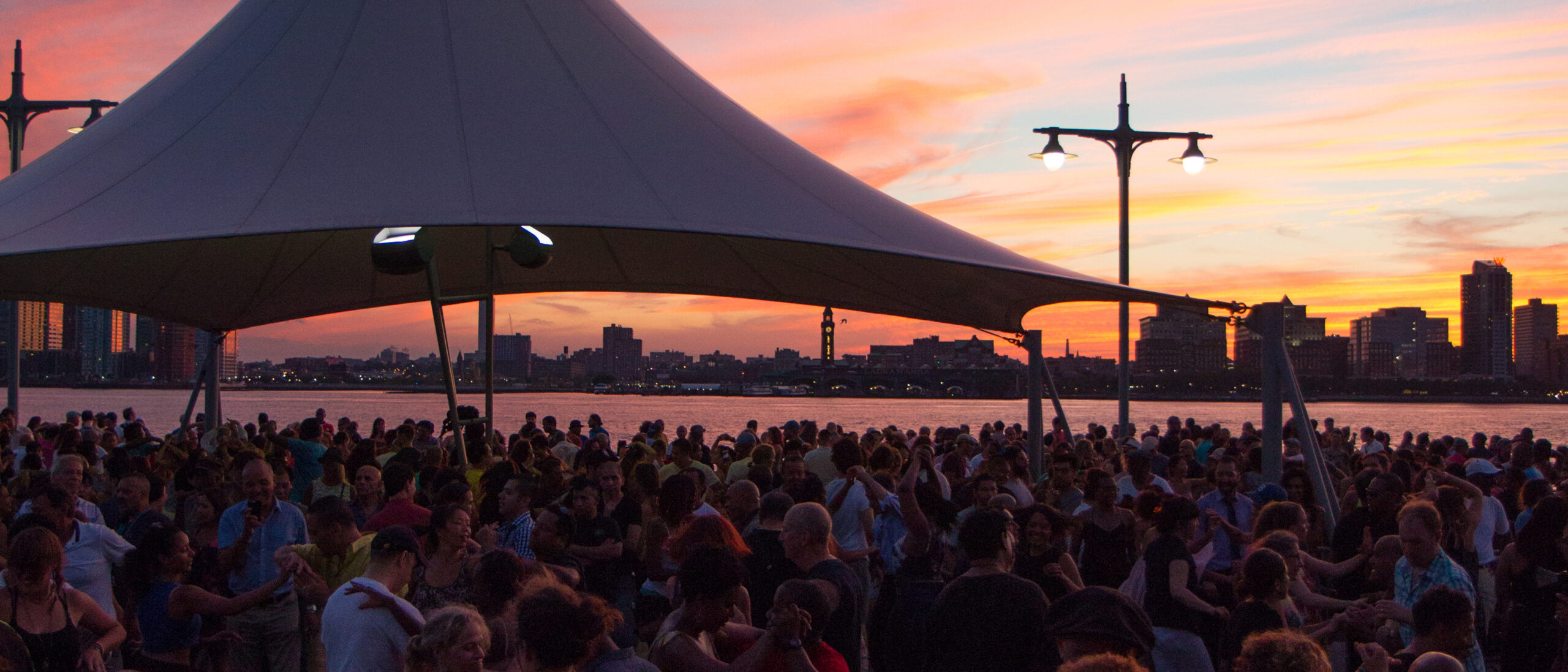 The sunset over Pier 45 during Salsa with Talia in Hudson River Park