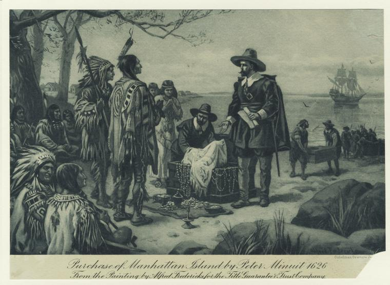 Peter Minuit negotiates with the Lenepe Tribe