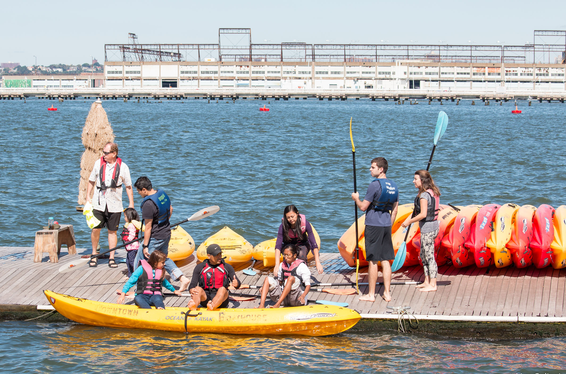 Kayakers at the Downtown Boathouse launch into the Hudson River