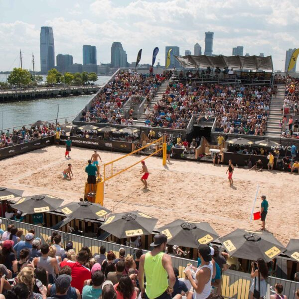 Gansevoort Peninsula has been transformed into a beach setting for the AVP games in Hudson River Park