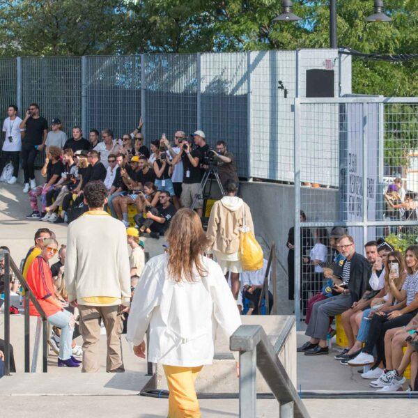 Park visitors enjoy the New York Fashion Week events at Hudson River Park