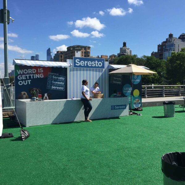 Soresto provides items for dog lovers at an event in Hudson River Park