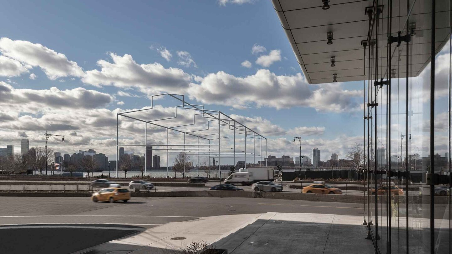 Rendering of David Hammon's Days End, a ghost pier structure symbolizing the old Pier 52 in Hudson River Park