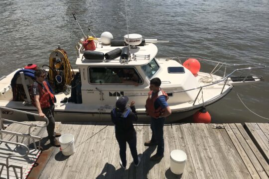 A boat is ready for the scientists to take water samples