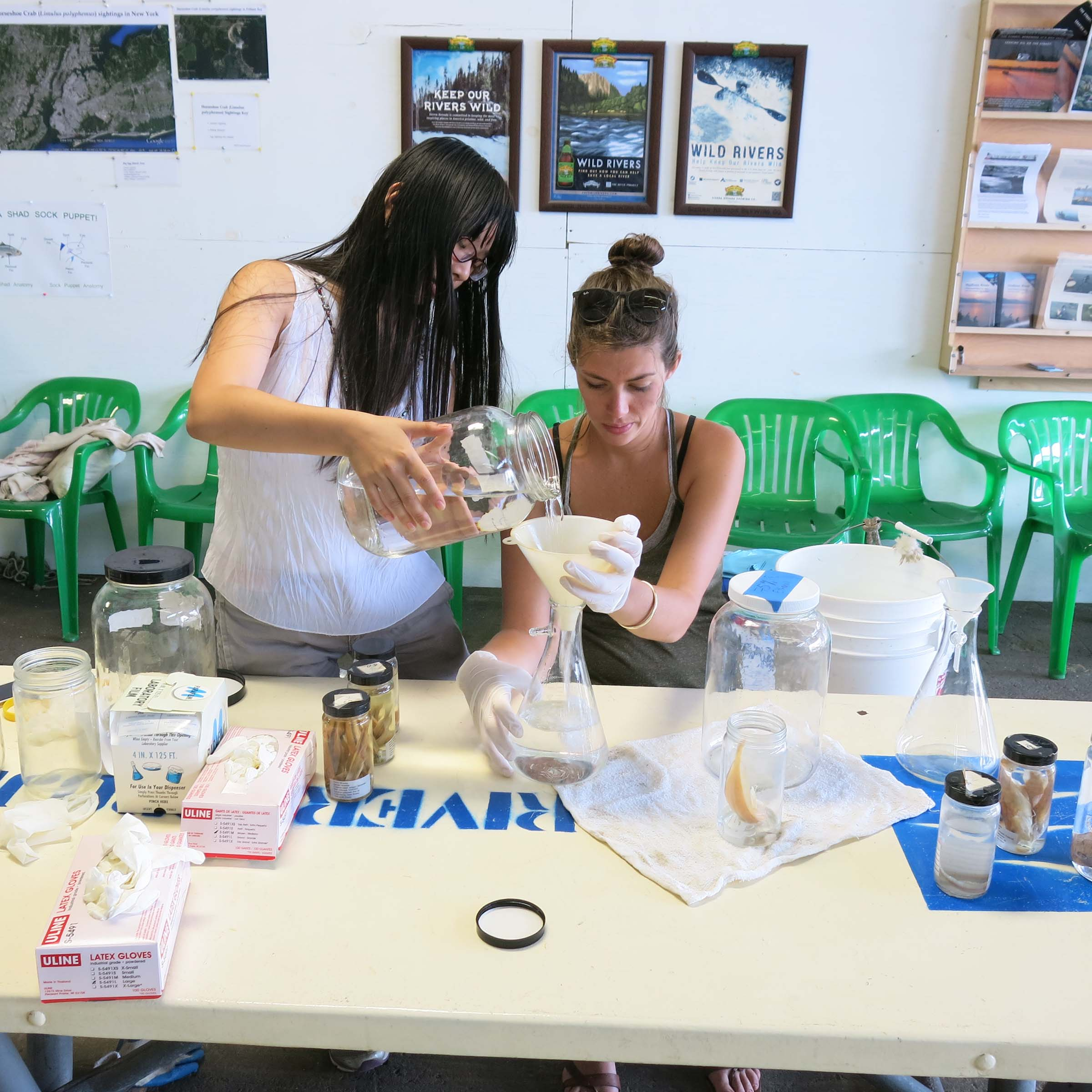 Two students mix in waters to research the aquariums