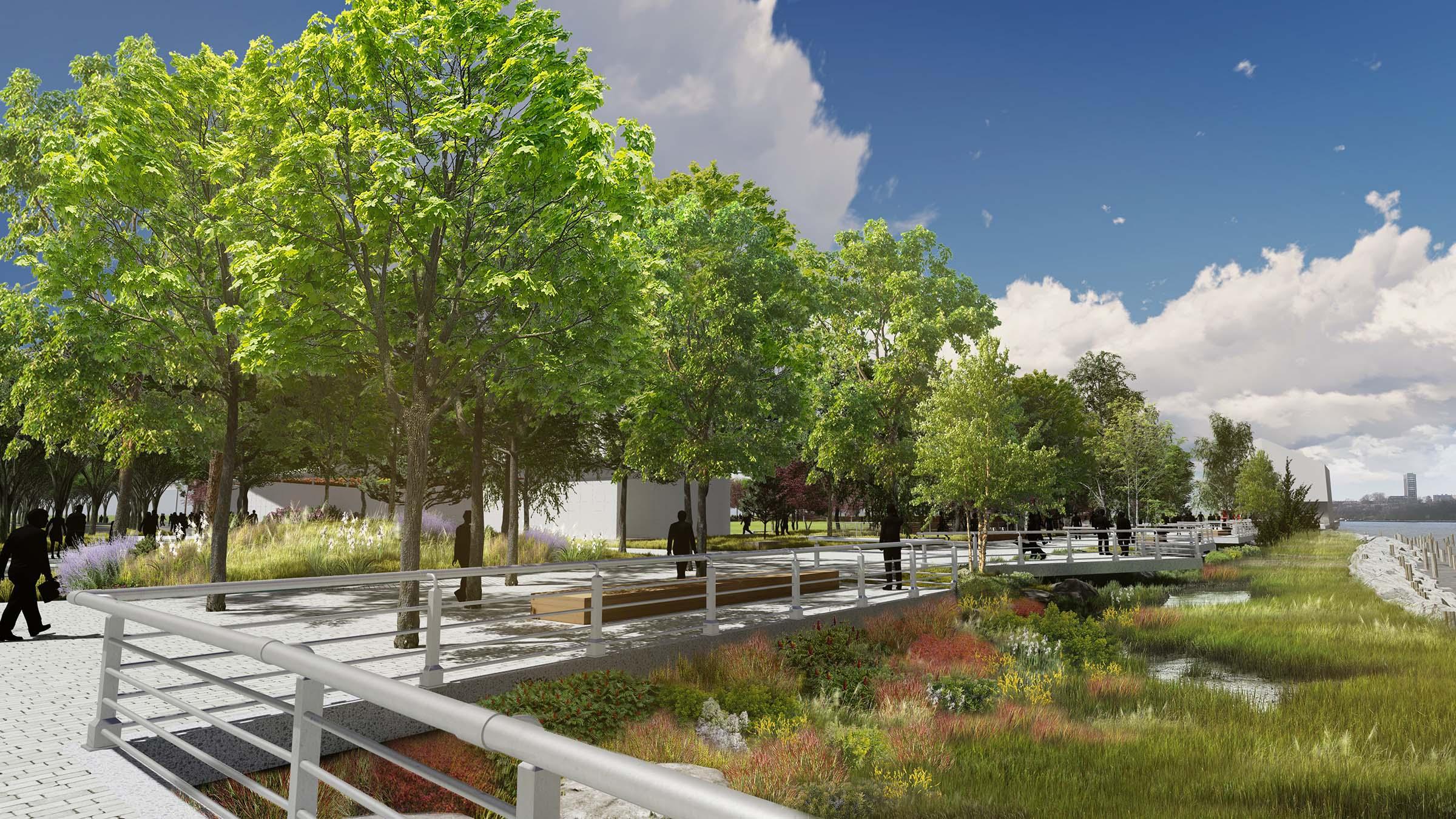 Garden area rendering on Gansevoort Peninsula