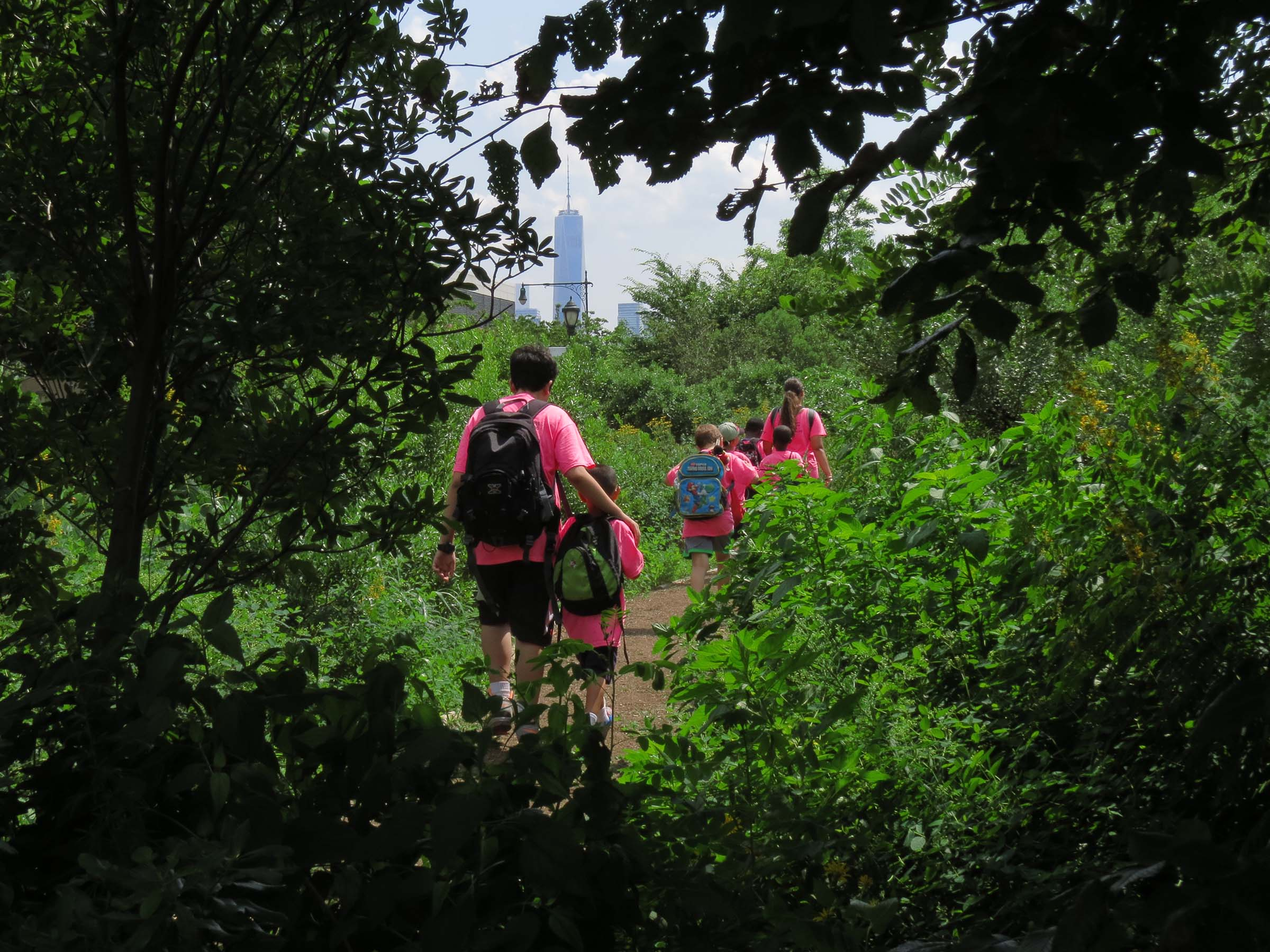 A group of students explore the green paths in the habitat garden