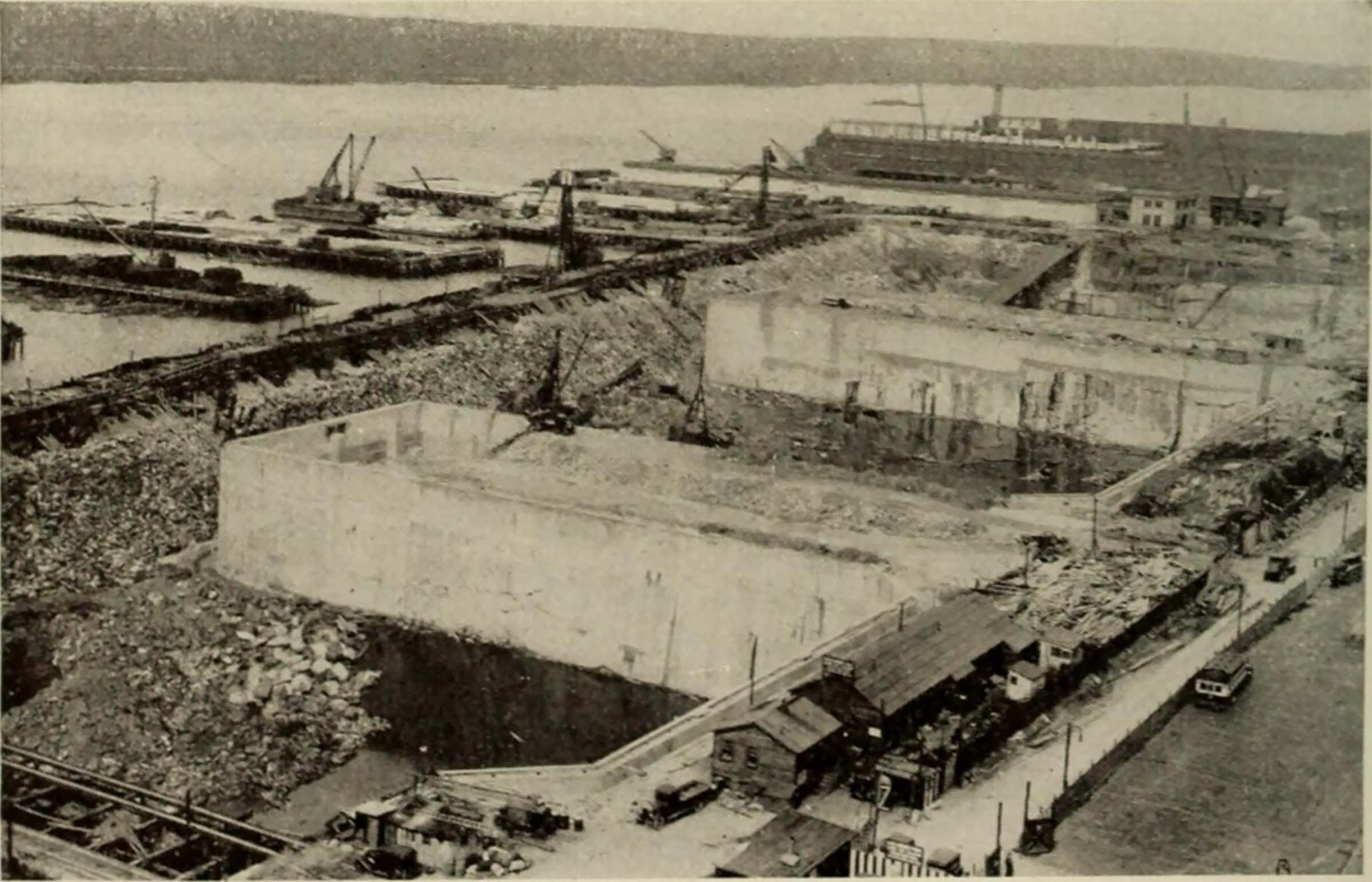Historic image of the bulkhead and cement holdings