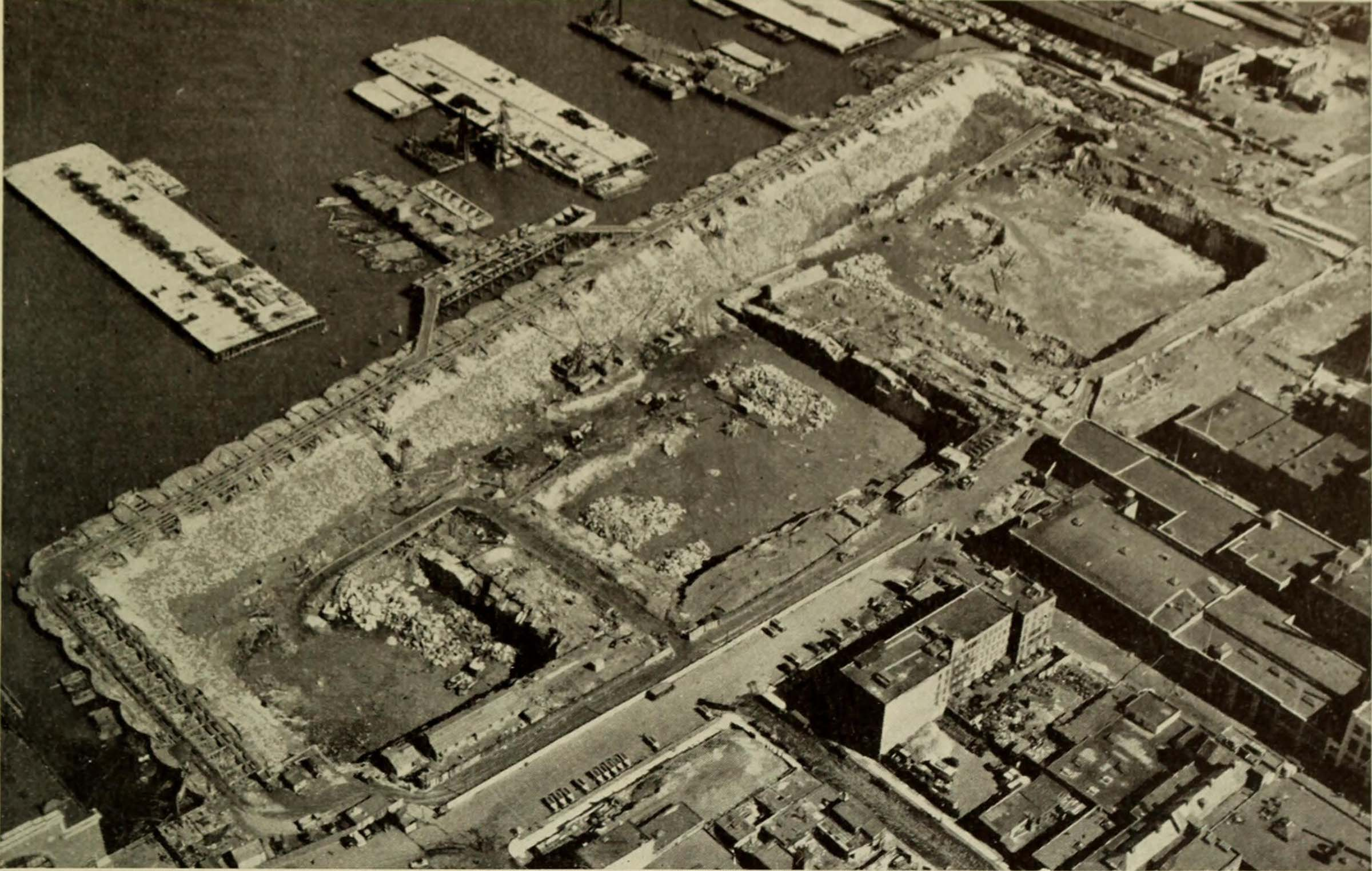 Historic photo overhead shot of digging the bulkheads