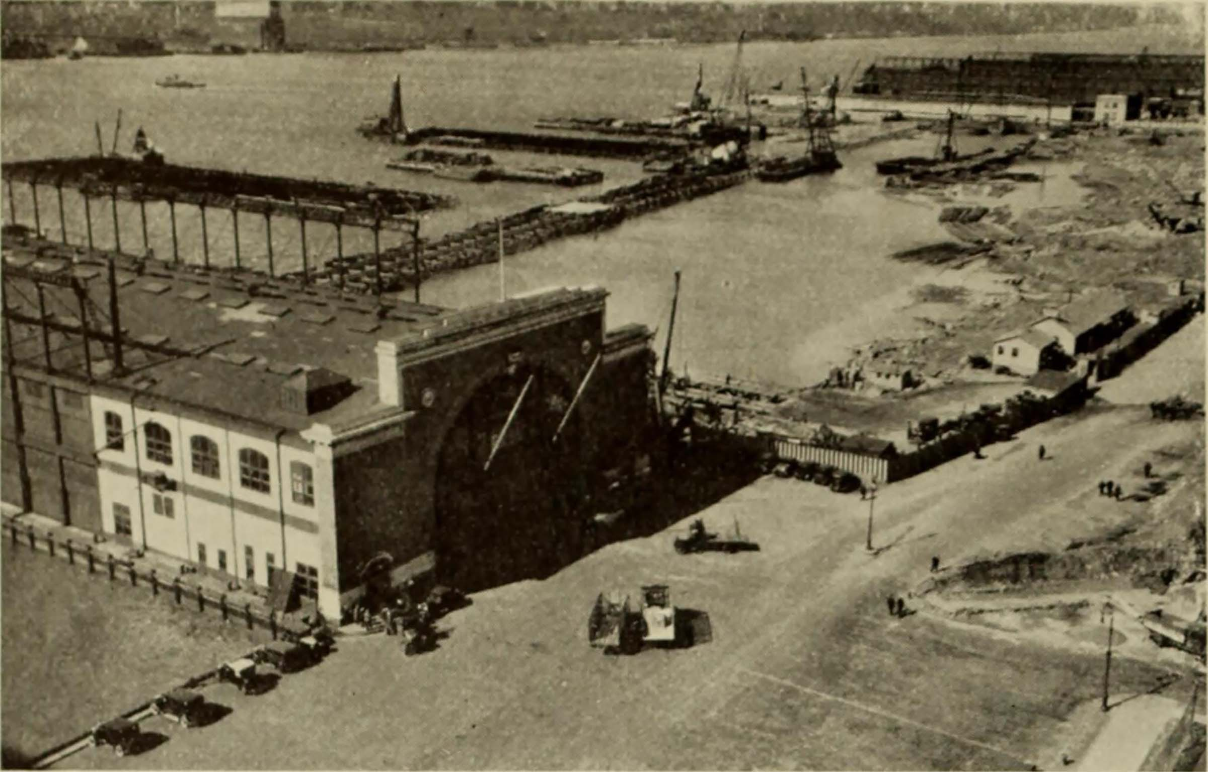 Historic image of a pier and the bulkhead after finishing