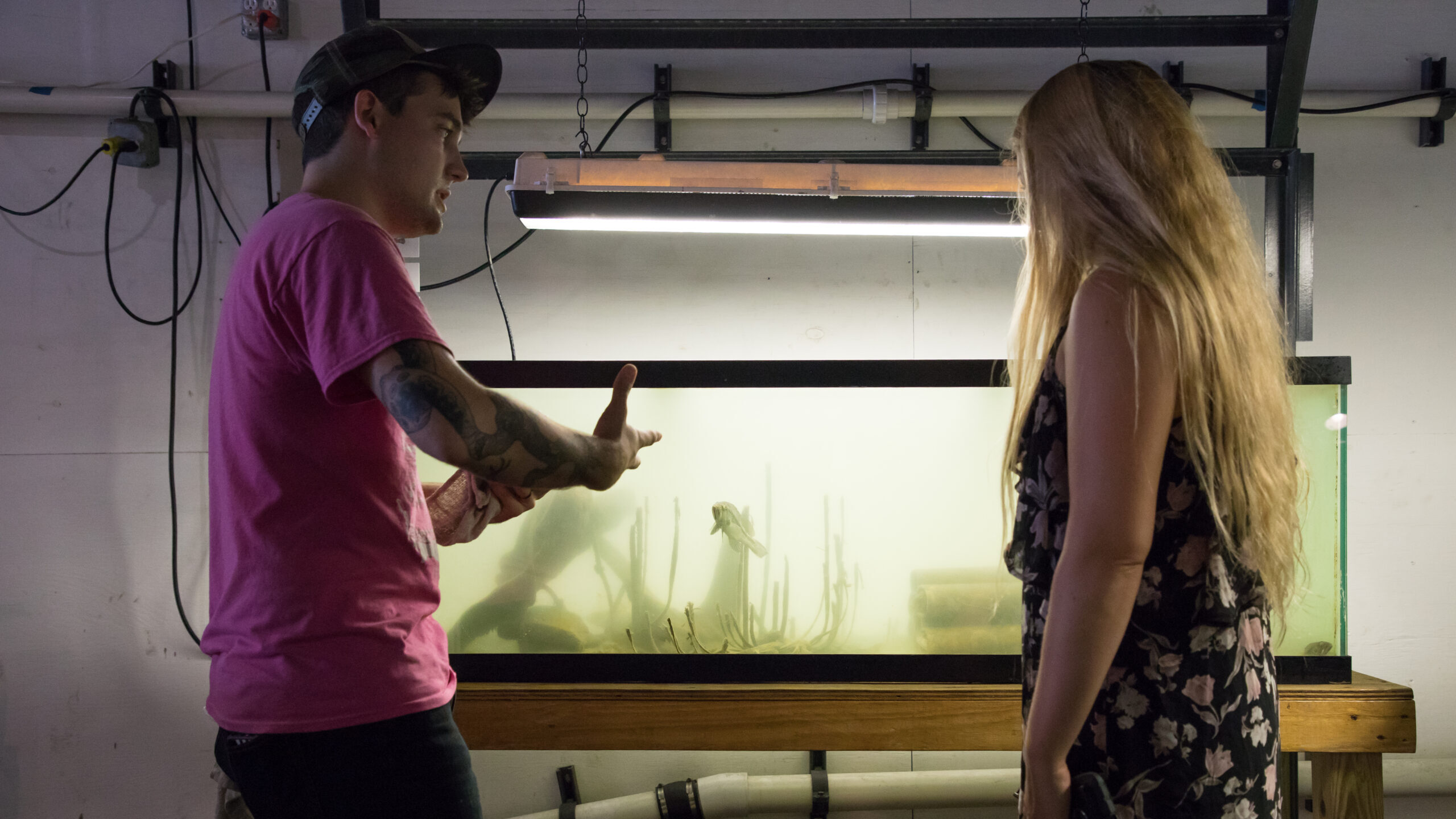 A River Project wetlab guide discusses what's in the fish tanks
