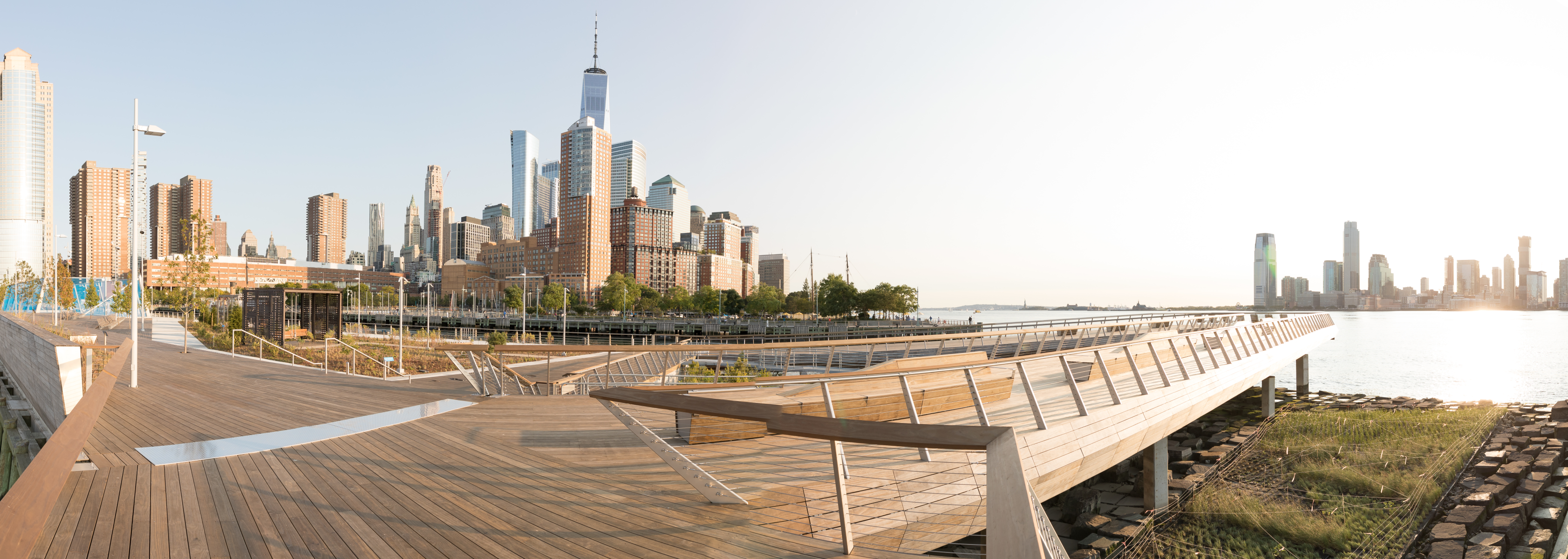 Panorama of the elevated walkway at the edge of HRPK's Pier 26