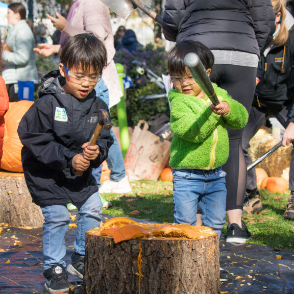 Two kids smash pumpkins