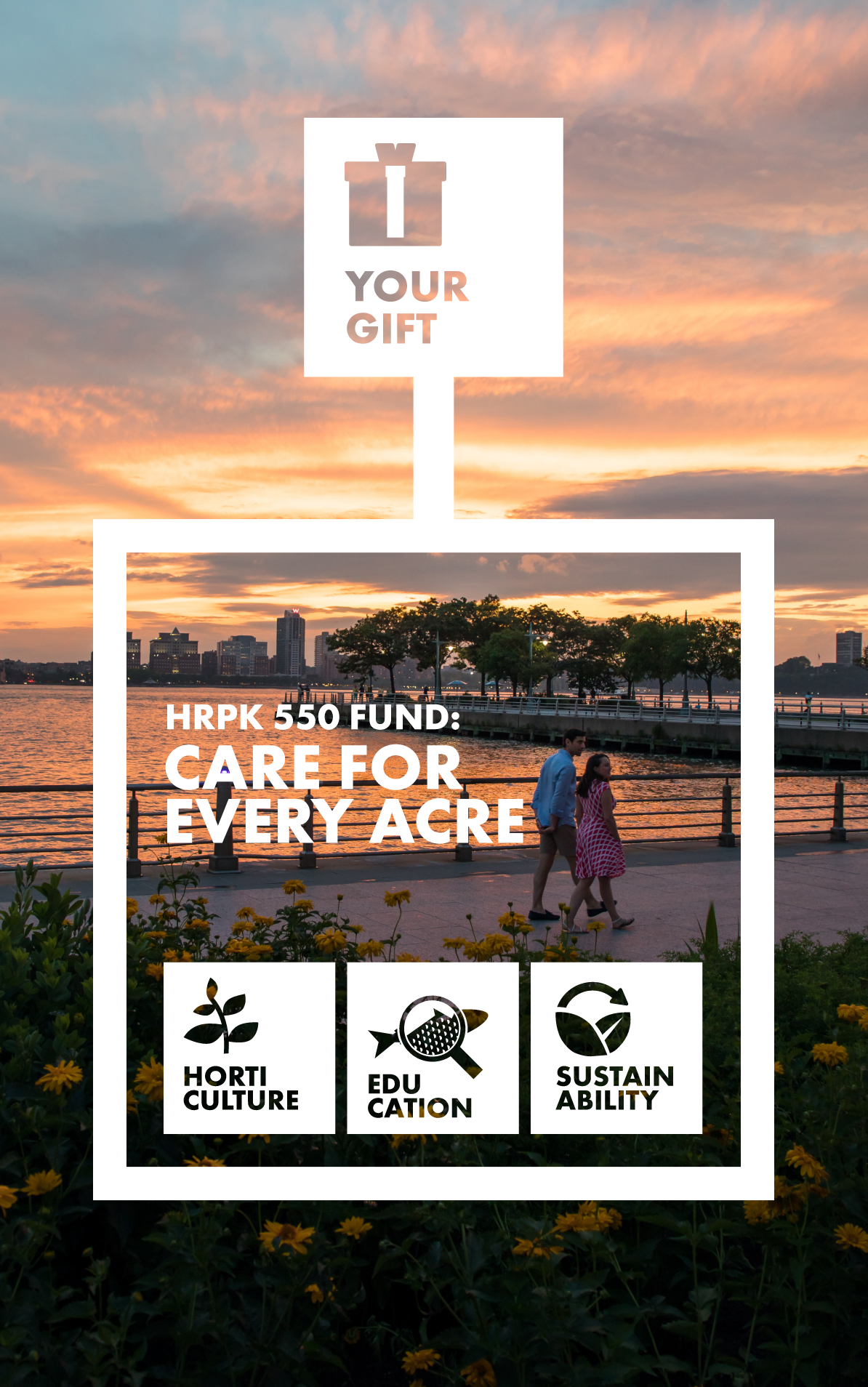 sunset over pier and Hudson RIver with HRPK 550 art