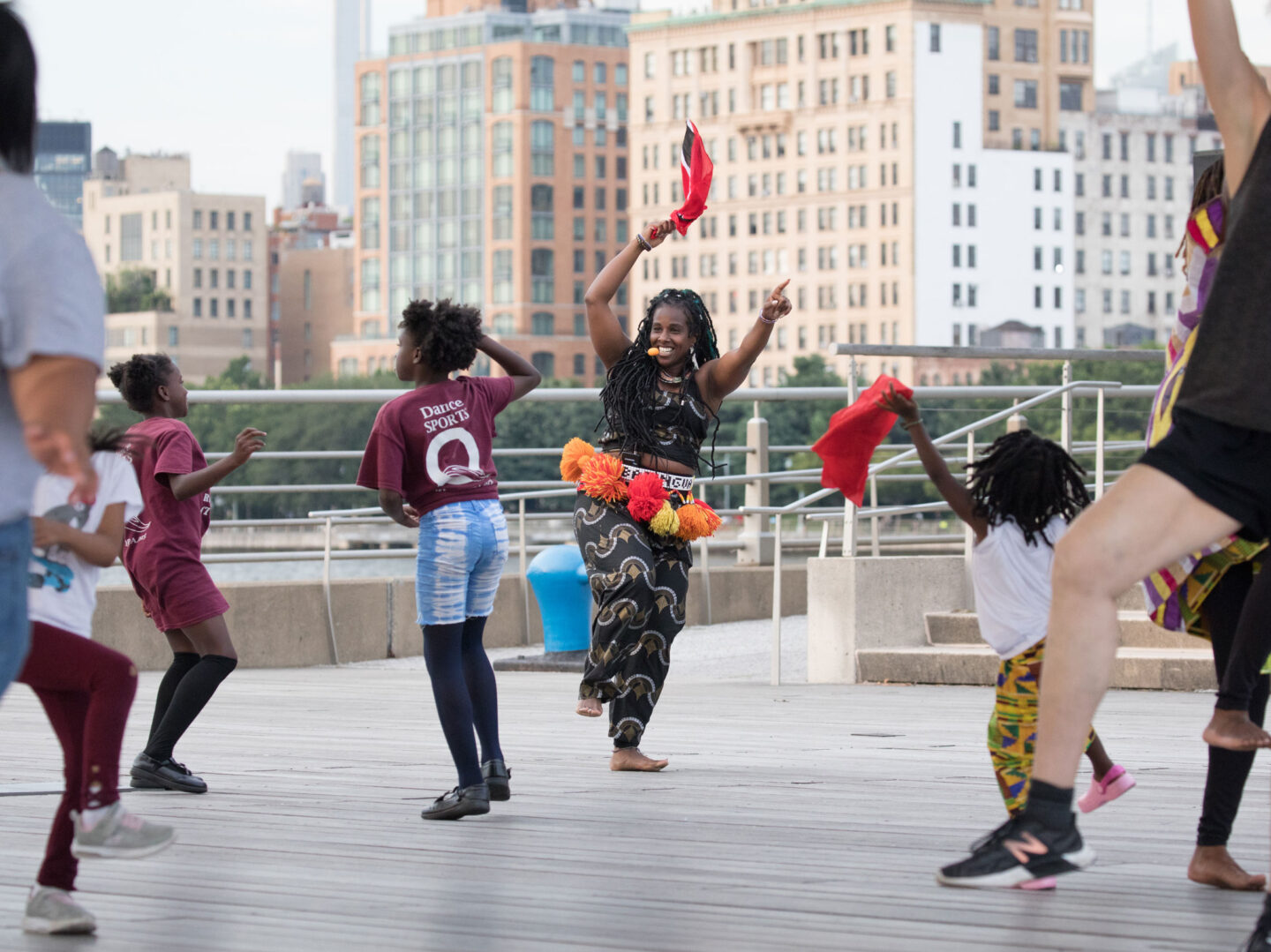 Batingua Arts dance lesson and performance at Pier 45 in Hudson River Park