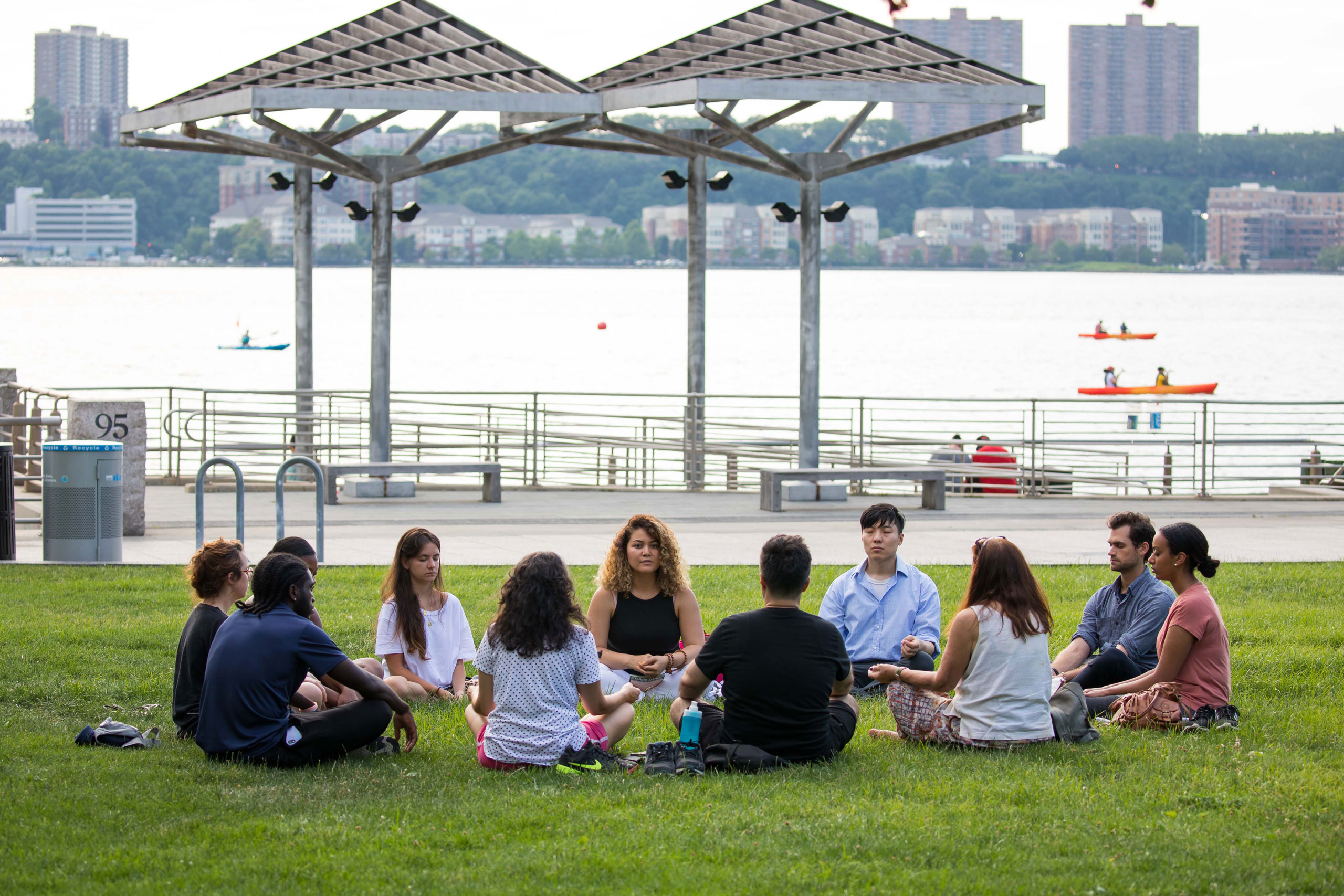 Meditation session at Clinton Cove in Hudson River Park