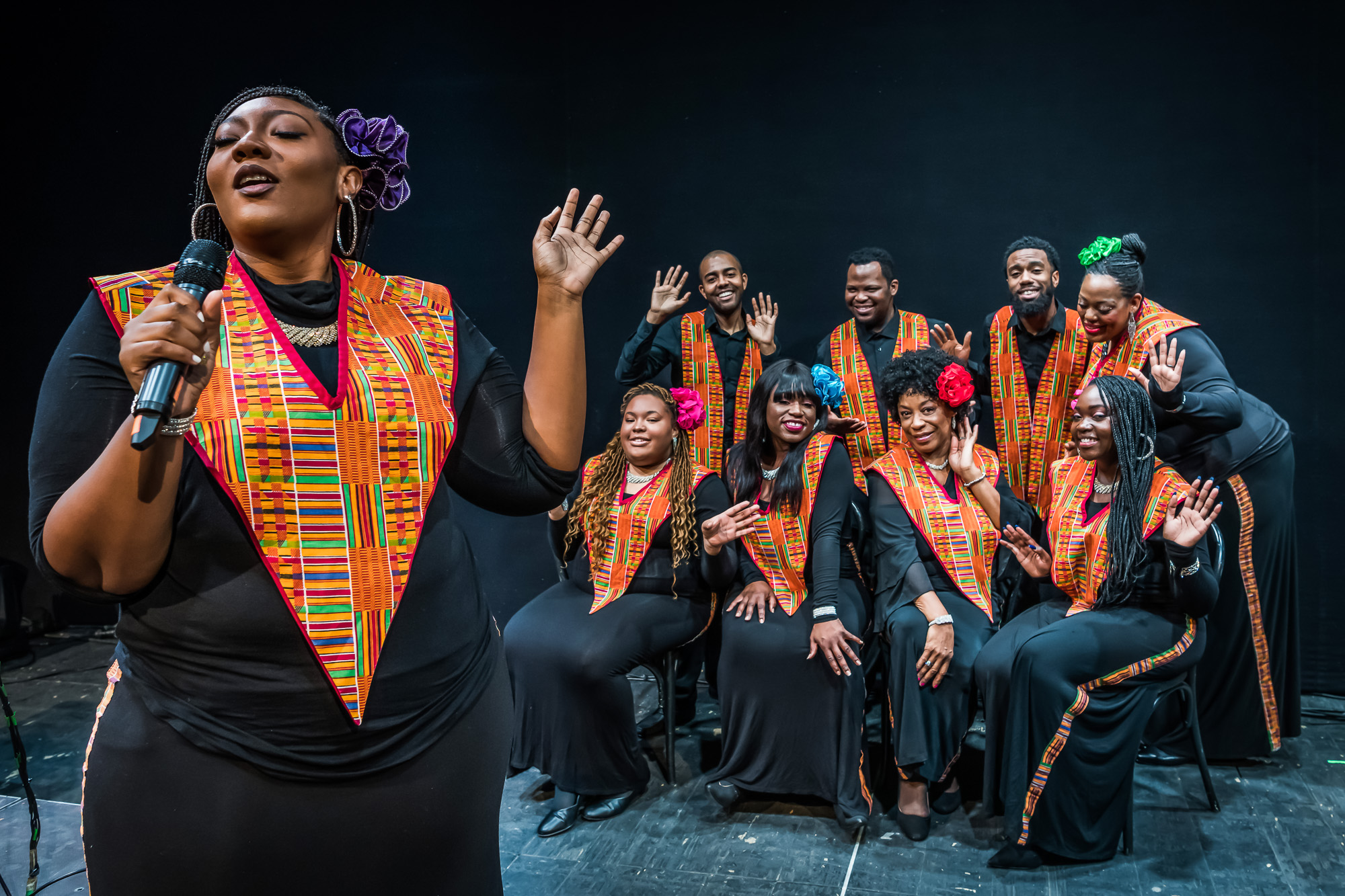The World Famous Harlem Gospel Choir performs at Blues BBQ Festival at Hudson River Park