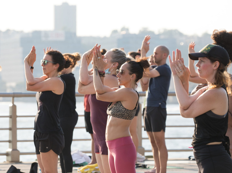 Yoga led by lululemon at Hudson River Parks Pier 64