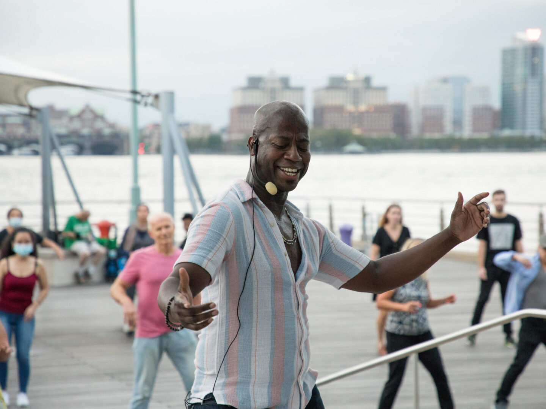 Dancing Sunset Salsa on Pier 45 at Hudson River Park